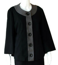 Dialogue Women's Black and Gray Button Front Sweater ¾ Sleeves, Size Large