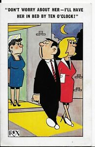 "LOVELY RARE VINTAGE COMIC POSTCARD,REX""I'LL HAVE IN BED BY TEN O'CLOCK""1968"