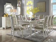 VOLAN Antique White Dining Room Set - 9 pieces Rectangular Table & Taupe Chairs