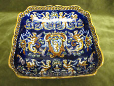 Coupe carrée creuse faience gien renaissance bleu 1938 (Gien hollow bowl)