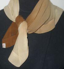 """Vintage Echo Scarf/Kerchief - Beige To Brown Colors - Sheer Silk 22"""" X 23"""""""