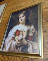 Adolphe Piot LARGE ART PRINT PARIS 1800S WOMAN GOLD PICTURE FRAME 20X16 VTG