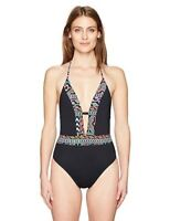 La Blanca Women's La Azteca Plunge One Piece Swimsuit, Multi, SZ :8