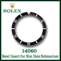 ♛ ROLEX Submariner Non Date Black Bezel Insert Aluminium Swiss Made For 14060 ♛