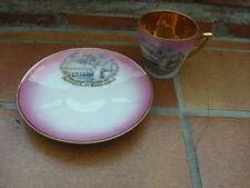 vintage tasse soucoupe souvenir première communion fille porcelaine CB or fin