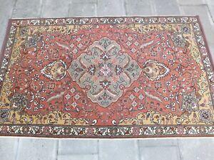 Orange Rug 3.9x6.5 ,Turkish Carpet,Hallway Rug,Hand Knotted Rug,Boho Decor Rug.