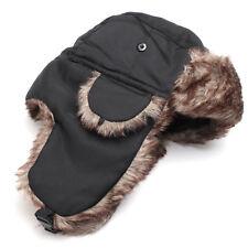 Bonnet Chapka  noir uni imperméable fourré pour homme,femme confortable et chaud