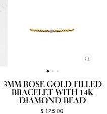 Karen Lazar 3MM ROSE GOLD FILLED BRACELET WITH 14K DIAMOND BEAD Size 6.5