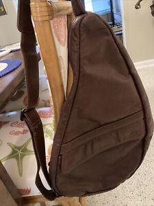 """AMERIBAG Healthy Back Bag Leather and Cotton Shoulder Sling Black 19"""""""