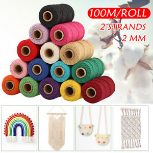 12 Colour 2mm 100m/Roll Waxed Cotton Thread Reel String Cord Macrame Craft Wire
