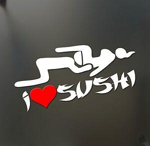 i heart sushi love sticker Funny asian rice head sex JDM honda car window decal