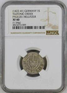 Teutonic Order Silver Schilling 1422-41 NGC XF40 Grand Master Paulus I Bellitzer