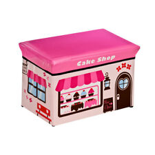 Kid's Cake Shop Design Storage Box Childrens Chest with Padded Lid For Sitting