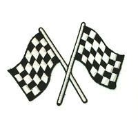 """Checkered Flag Auto Car Racing Iron On Embroidered Patch Chequered Decal 3.5"""""""