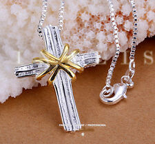Large 925 Hallmark Sterling Silver CZ Cross Heart Pendant  Chain Necklace N-A391