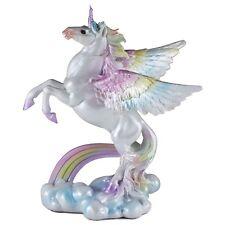 "Rainbow Unipeg Pegasus Unicorn Figurine Statue 8""H Resin New In Box!"