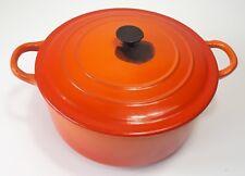 LE CREUSET Cast Iron Casserole Oven Dish Lidded - D Size 22cm / Volcanic Orange