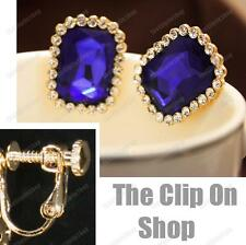 CLIP ON faceted INDIGO GLASS EARRINGS gold tone SAPPHIRE BLUE rhinestone CRYSTAL
