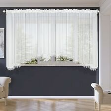 Tape Top Voile Net Curtains With Lace White Ready Made *Quality Voile Curtains*