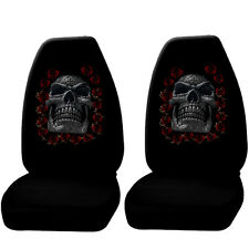 2 Day Of the Dead Skull Roses w/Thorn Seat Cover Universal