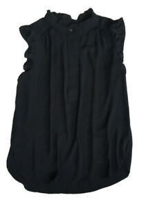 Women's Ann Taylor LOFT Sheer Sleeveless Black Shirt Top Blouse - Small - EUC