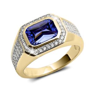 Natural Tanzanite Gemstone Real Diamond 22k Solid Yellow Gold Men's Ring #64