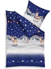Kaeppel Biber Bettwäsche 135x200 Cm Design 3251 Winterwonderland blau Rentier Schnee Weihnachten