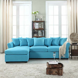 Modern Large Linen Sectional Sofa with Extra Wide Chaise - Blue