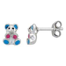 Sterling Silver Child Size Teddy Bear Earrings w/ Blue & Pink Enamel Design