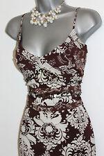 Karen Millen Brown Floral Print Embellished Spaghetti Straps Midi Dress size 12