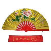 "New 13"" Tai Chi Martial Arts Kung Fu Bamboo Fan Gold Dance Pratice Folding Peony"