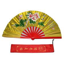 New Tai Chi Martial Arts Kung Fu Bamboo Fan Gold Dance Pratice Folding Training