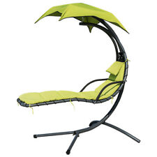 New listing Hanging Chaise Lounge Chair Beach Garden Swing Hammock Chair w/ Arc Stand Canopy