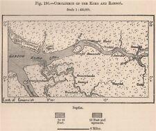 Confluencia de la cuenca Komo & ramboé. Gabón 1885 cuadro de plan de Mapa Antiguo Viejo