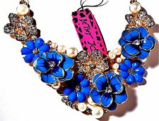 BETSEY JOHNSON  LUXURIOUS 3 D BLUE PANSY PEARL CRYSTAL BRIDAL DRESSY CHOKER G/T