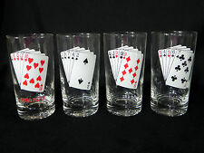 VTG Poker Cards Highball Cocktail Bar Glasses Set of 4 Flush Straight