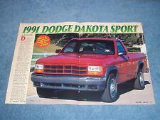 "1991 Dodge Dakota Sport Vintage Info Article ""With V8 Power...."" Pickup Truck"