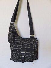 Baggallini Cross Body Travel Bag Organizer Handbag Giraffe Print Black Nylon