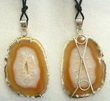 Ciondolo in ARGENTO 925 con AGATA marrone e girocollo - pendente pietra dura -