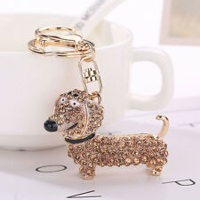 Bling Crystal Dog Dachshund Keychain Purse Pendant Car Holder Key Ring CHAMPANE
