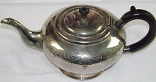 1930s Silver Plated Britannia Teapot Bakerlite Handle EPBM England Etched Floral