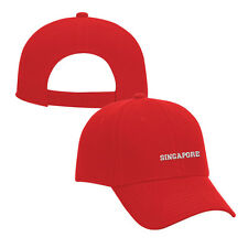 SINGAPORE COUNTRY Embroidery Embroidered Adjustable Hat Cap Red