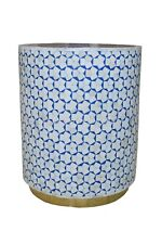 Indian Luxury Bone Inlay Round Side Table Triangle Design