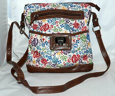Rosetti Red Blue Yellow Green Flowered Shoulder Bag with Brown Faux Leather