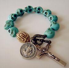 handmade rosary Turquoise Skull tibet oxen Beads rose st.benedict bracelet cross