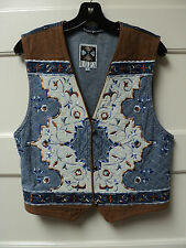 "HAIRSTON ROBERSON ""ROPA"" BLUE DENIM VEST w/ EMBROIDERED DECORATION, SIZE LARGE"