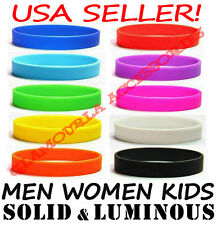 Silicone Rubber Sport Wristband Cuff Bracelet Band Sz MEN WOMEN KID GLOW IN DARK