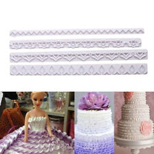 4pcs Frill Lace Ribbon Cutter Edge Mold Sugarcraft Fondant Cake Decorating Tool