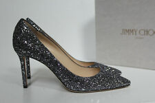 New sz 12 / 42 Jimmy Choo Romy Silver Star Coarse Glitter Pointed Toe Pump Shoes
