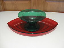 TUPPERWARE jewel tone acrylic serving/appetizer red & green dessert dish & tray